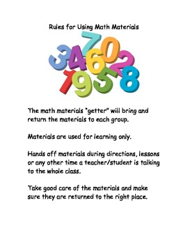 Rules for Using Math Materials