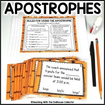 Rules for Using the Apostrophe Reference Sheet and 24 Task Cards with Answer Key