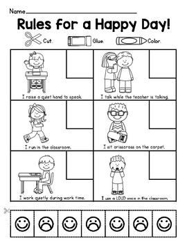 Rules for a Happy Day Classroom Behavior Worksheet