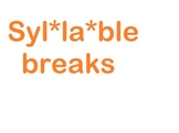 Rules for syllable breaks