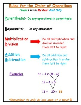 Rules For The Order Of Operations Pemdas Cheat Sheet  Study Guide Originaljpg