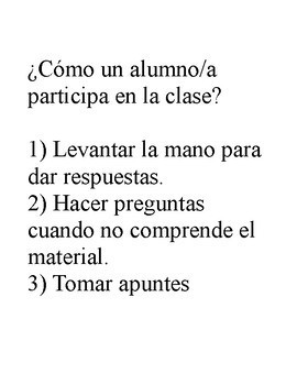 Rules for the class in Spanish for interactive notebooks