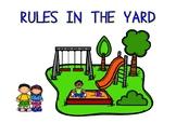 Rules in the yard (posters) / Normas en el patio (carteles en inglés)