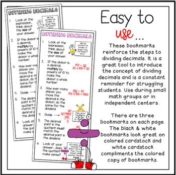 Rules of Dividing Decimals Bookmarks