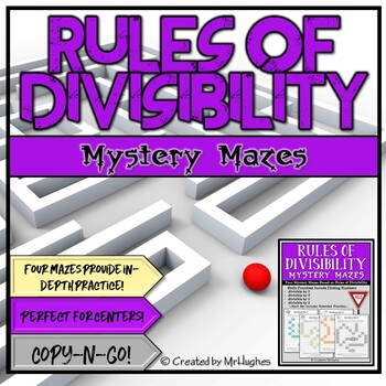 Rules of Divisibility (2, 3, 5, 6) Mystery Mazes Set 1