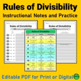 Rules of Divisibility Instructional Notes and Practice | P