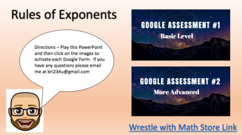 Rules of Exponents –  2 Google Assessments