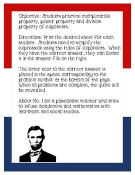 Rules of Exponents Abraham Lincoln Quotable