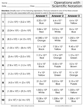 Exponents and Scientific Notation Activities