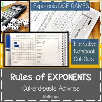 Rules of Exponents: Cut-and-Paste Activities ~8.EE.A.1~