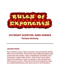 Rules of Exponents: Different Question, Same Answer Parter