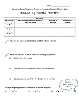 Rules of Exponents- Discovery of Property of Products and