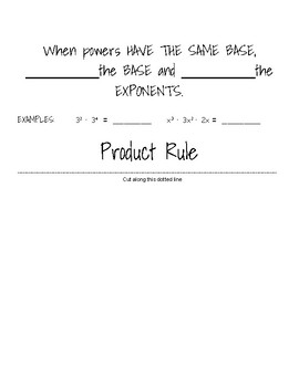 Rules of Exponents Flip File