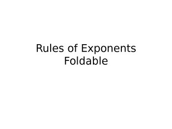 Rules of Exponents Foldable
