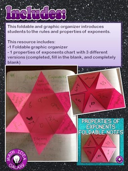 Properties of Exponents Foldable Notes