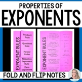 Properties of Exponents : Middle School Math Foldable Style Notes