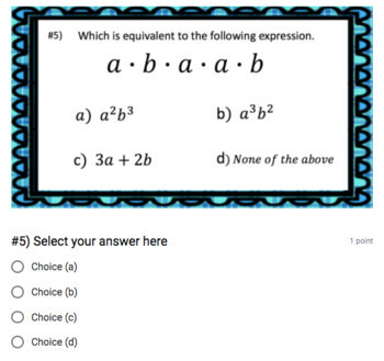 Rules of Exponents Google Form Bundle – Perfect for Google Classroom!
