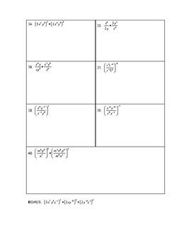Rules of Exponents Grid Packet