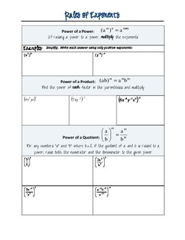 Rules of Exponents, Guided Notes