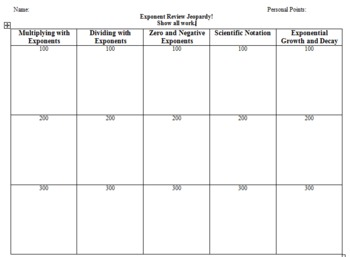 Rules of Exponents Jeopardy Game Student Sheet