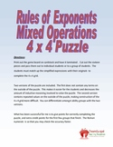 Rules of Exponents (Mixed Operations) Puzzle
