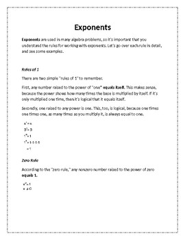 Rules of Exponents Note Sheet