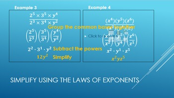 Rules of Exponents PPT, notes, and practice BUNDLE