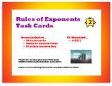 Rules of Exponents Task Cards - 8.EE.1