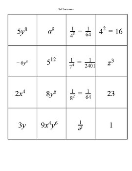 Rules of Exponents matching game