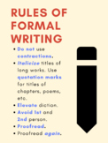 Rules of Formal Writing Poster