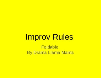 Rules of Improv Notes/Foldable