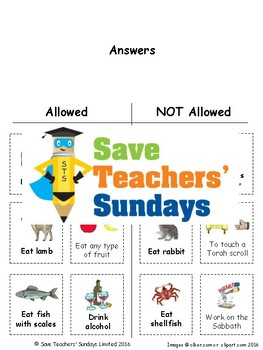 Rules of Judaism Lesson Plan and Worksheets / Activity