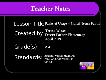 Rules of Usage - Plural Nouns Part 1