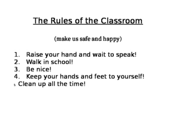 Rules of the Classroom for Pre-K