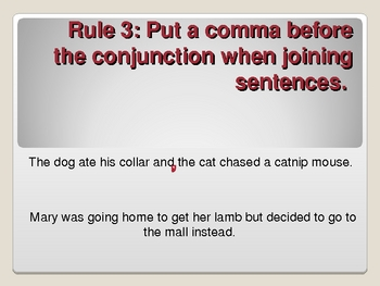 Rules of the Comma Powerpoint Presentation (with bouncing comma)