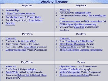 Rules of the Game 5-Day Lesson Plan (Common Core Aligned)
