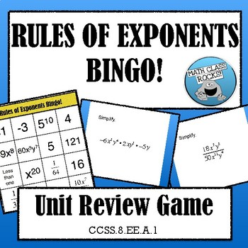 RULES OF EXPONENTS BINGO!
