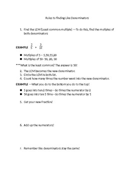 Rules to Find Like Denominators