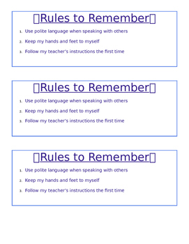 Rules to Remember - Desk Note