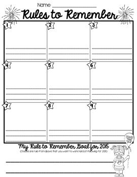 Rules to Remember - Winter Break/New Year Rule Review Activity
