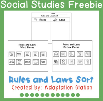 Rules Vs Laws Sorting Activity Freebie By Adaptation