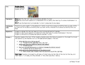 Rumble, Boom! Close Read Interactive Read Aloud Lesson Plan and Tasks