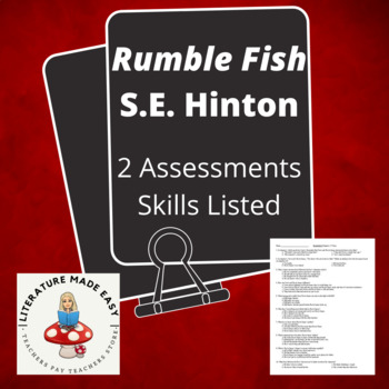 Rumble Fish by S. E. Hinton Common Core Assessment - Quizzes / Tests