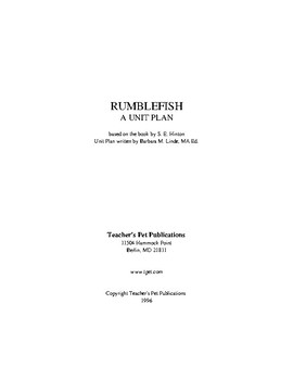 Rumble fish Unit plan and novel guide
