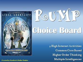 Rump True Story of Rumplestiltskin Choice Board Menu Novel Study Book Project