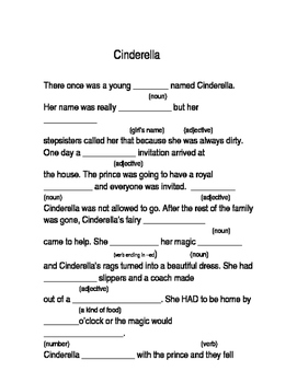 """Rumpelstilskin and Cinderella """"Mad Libs"""" pages"""