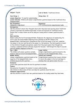 Rumpelstiltskin Comprehension and lesson resources