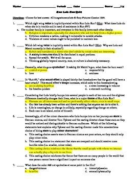 Run Lola Run Film (1998) 15-Question Multiple Choice Quiz