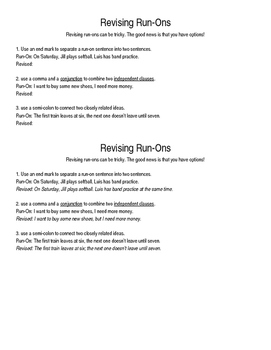 Run-On Revision Rules