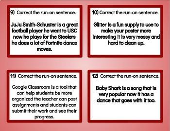 Run-On Sentences Pop Culture Task Cards